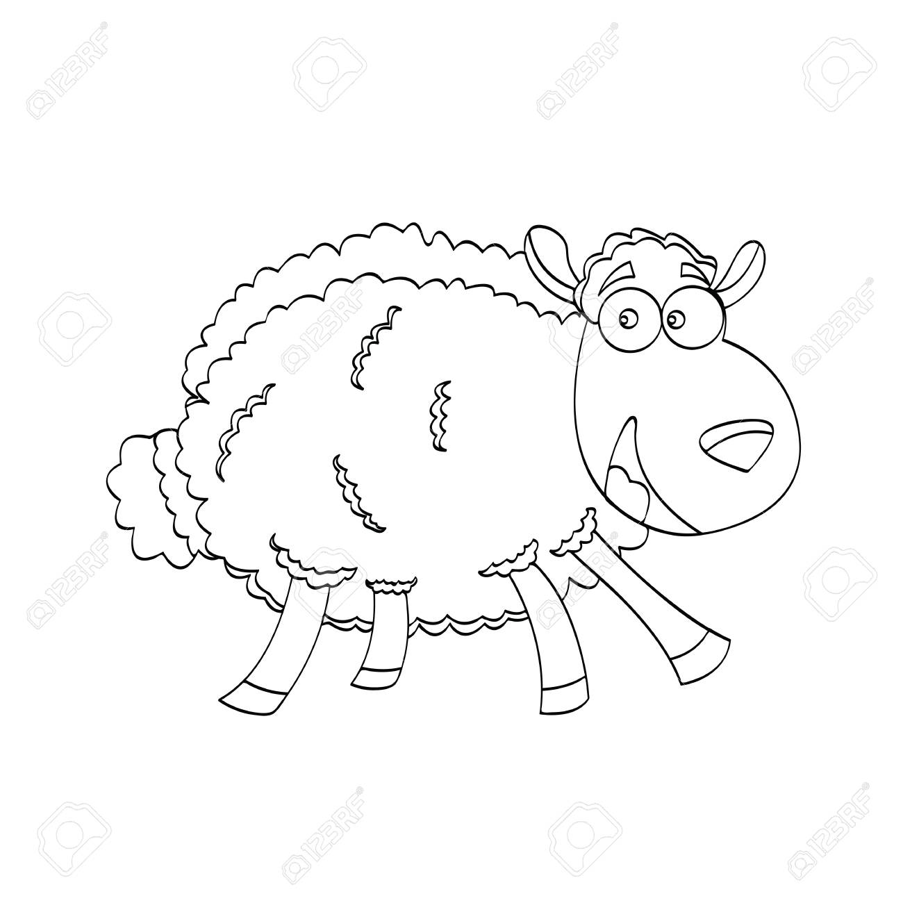 Illustration of sheep cartoon animal for kids drawing or painting game stock vector 96446836