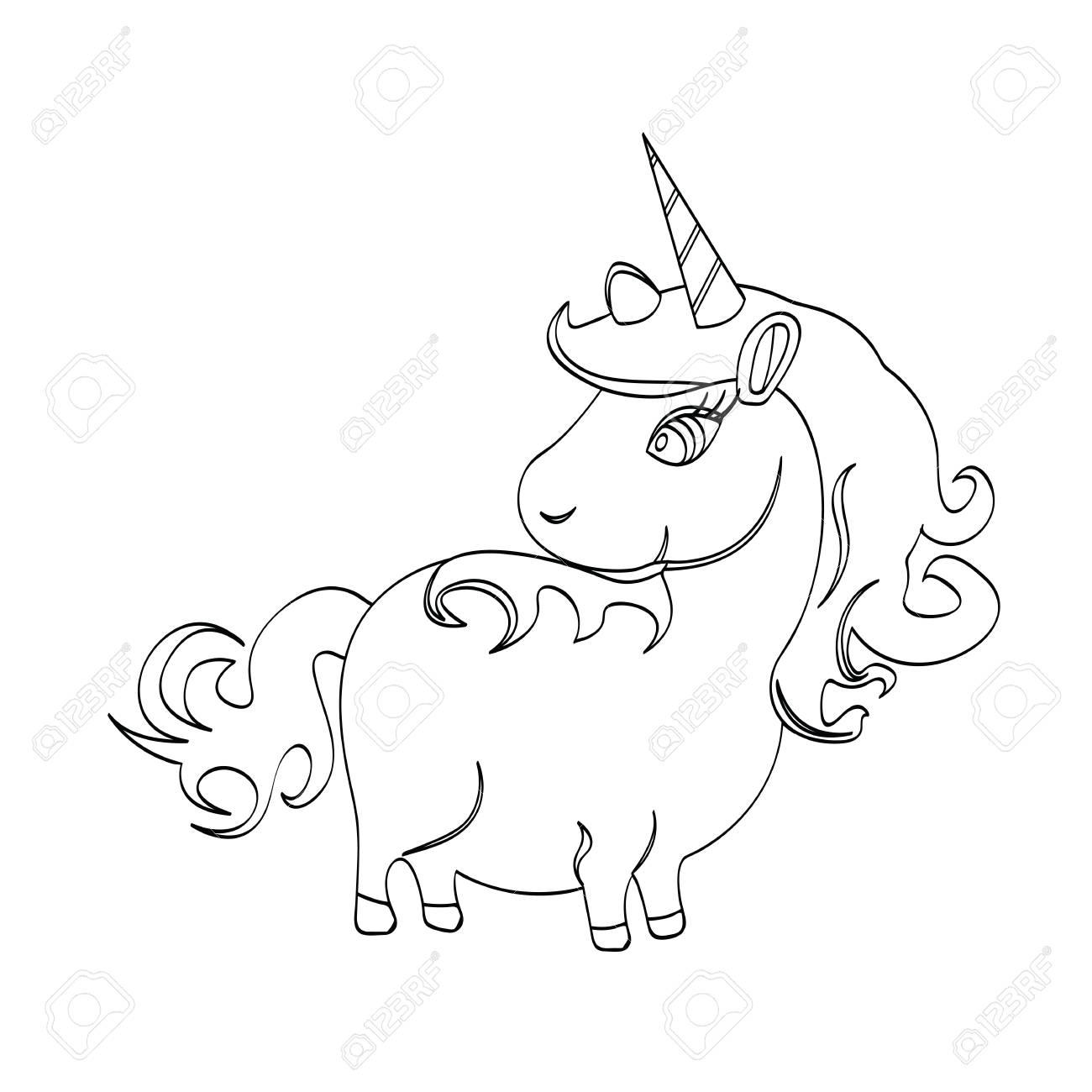 Illustration of unicorn cartoon animal for kids drawing or painting stock vector 96524960