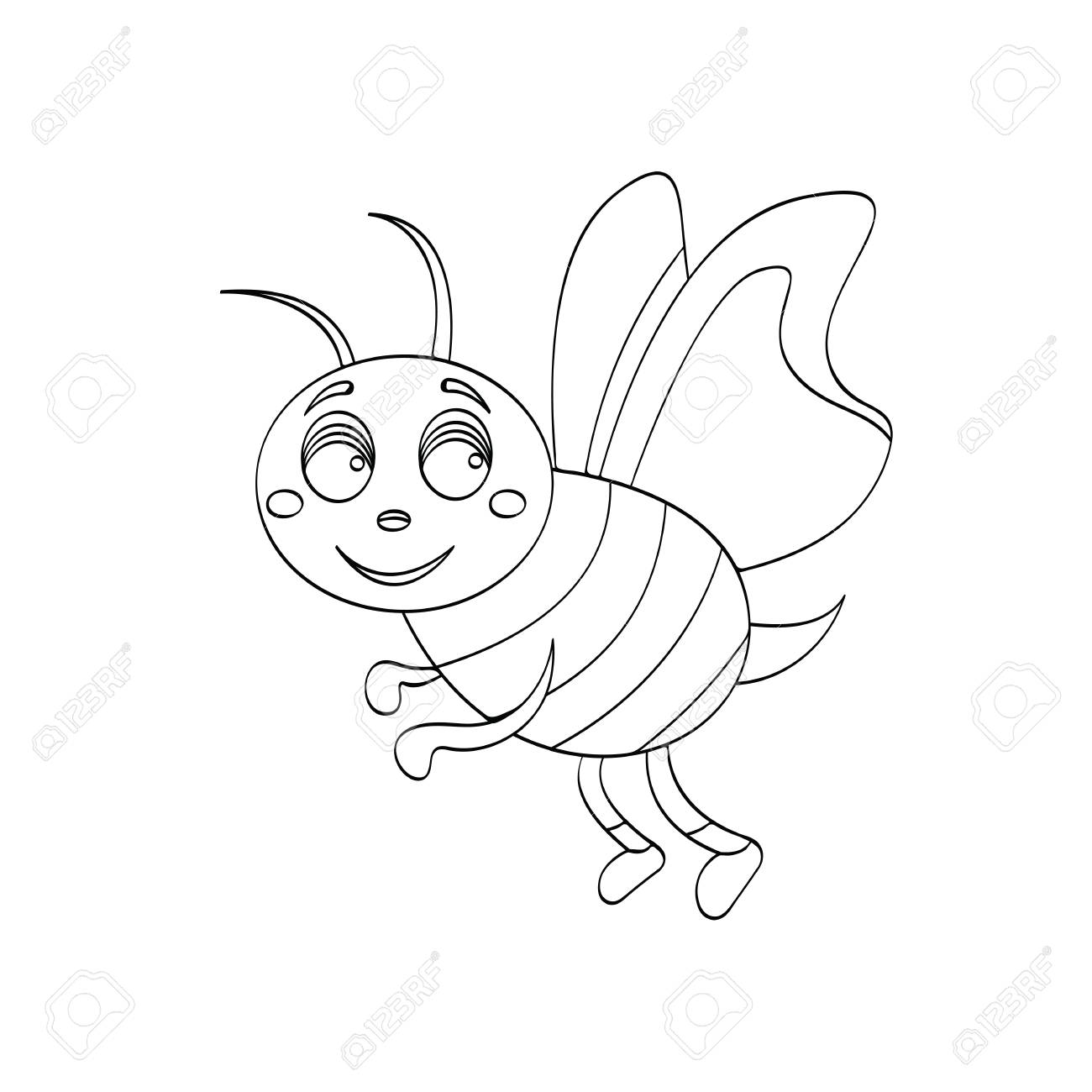 Illustration of wasp cartoon for kids drawing or an outline for painting game stock vector