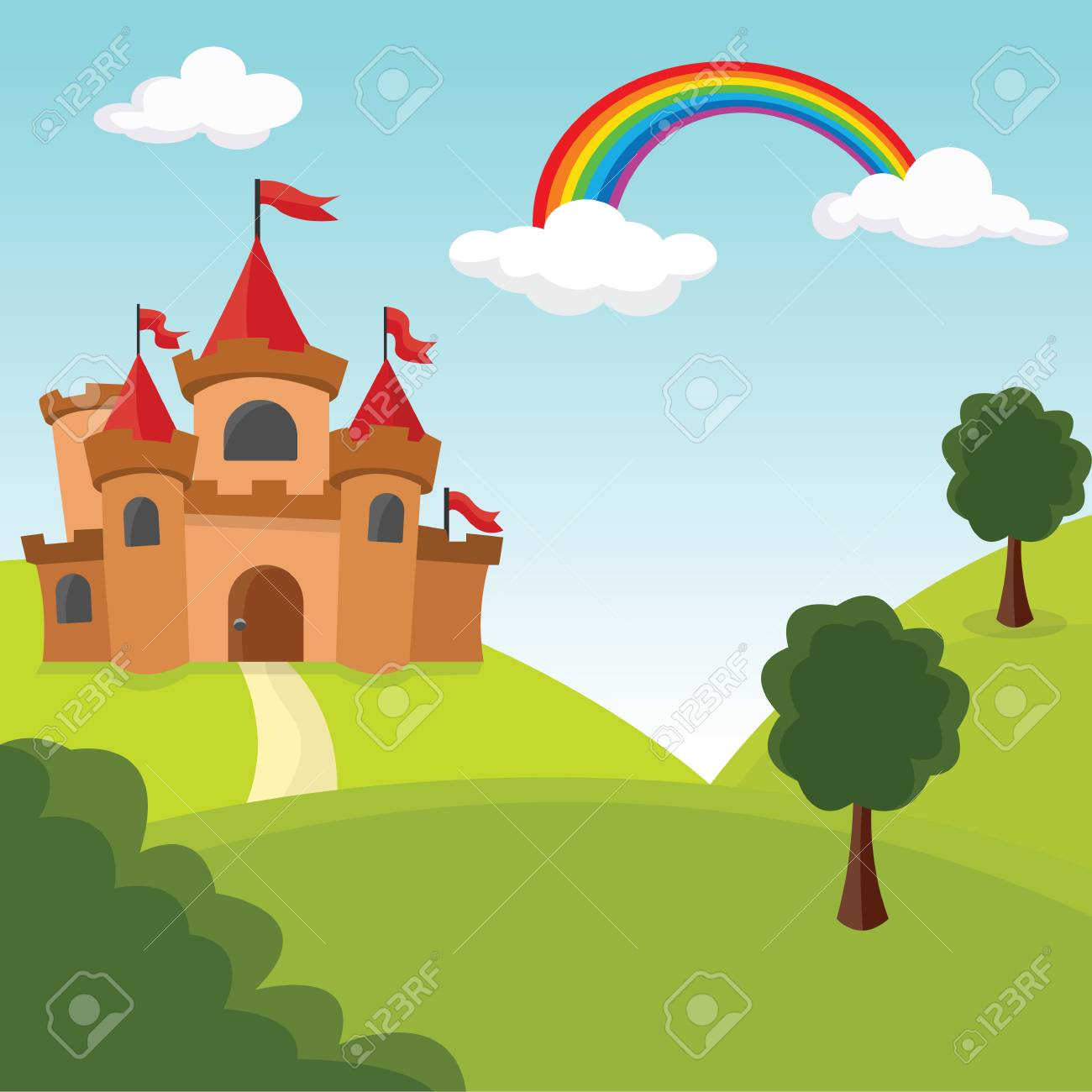 Romantic castle by the hills with trees. Vector Illustration. - 98609107
