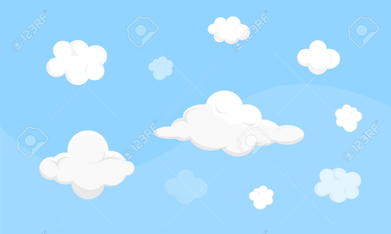 cute vector different clouds on blue sky game assets isolated rh 123rf com vector skydive vector skydive