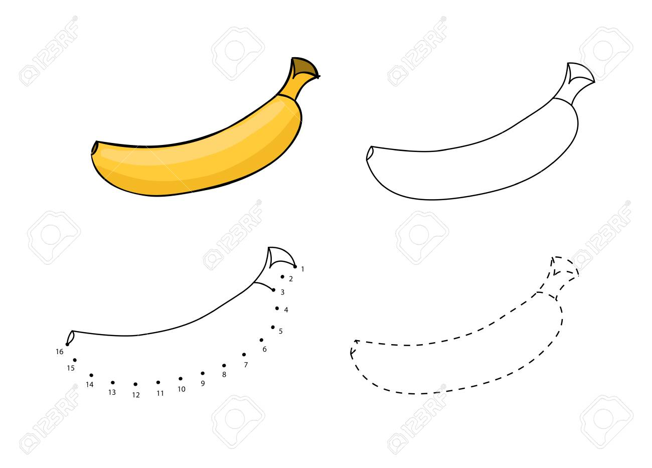 Vector Set Of Bananas Kids Drawing Child Educational Game Page