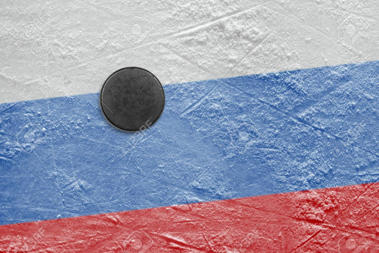washer and the image of the russian flag on a hockey rink stock