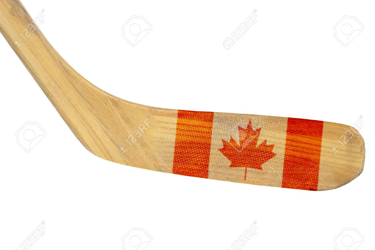 Hockey Stick With The Image Of The Canadian Flag Isolated Stock