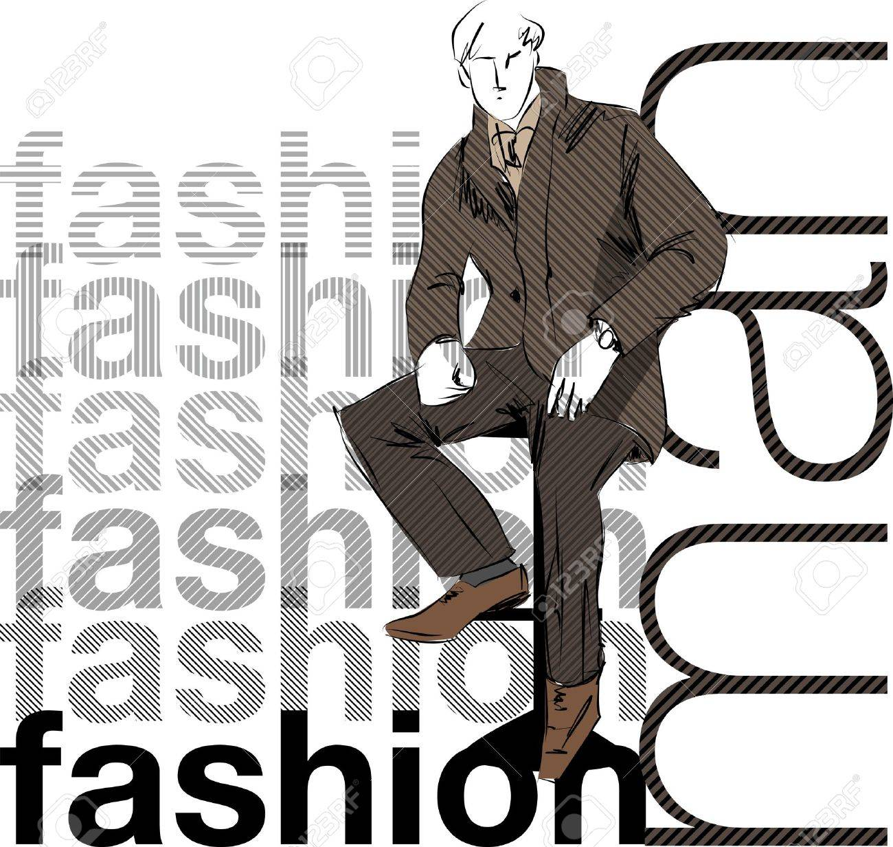Sketch fashion & handsome business man Stock Vector - 10778979