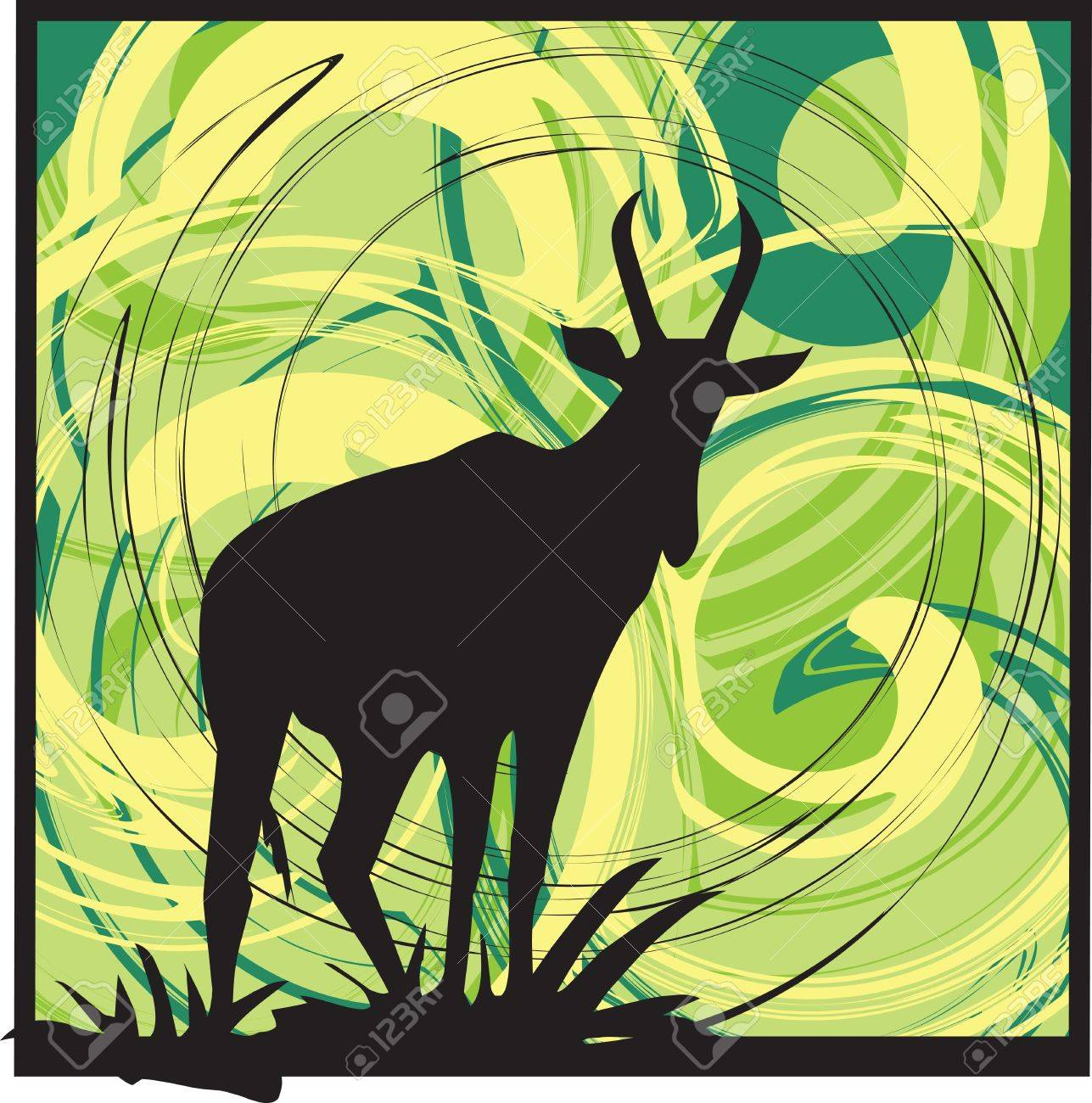 Goat alerted to movement. vector illustration Stock Vector - 10892386
