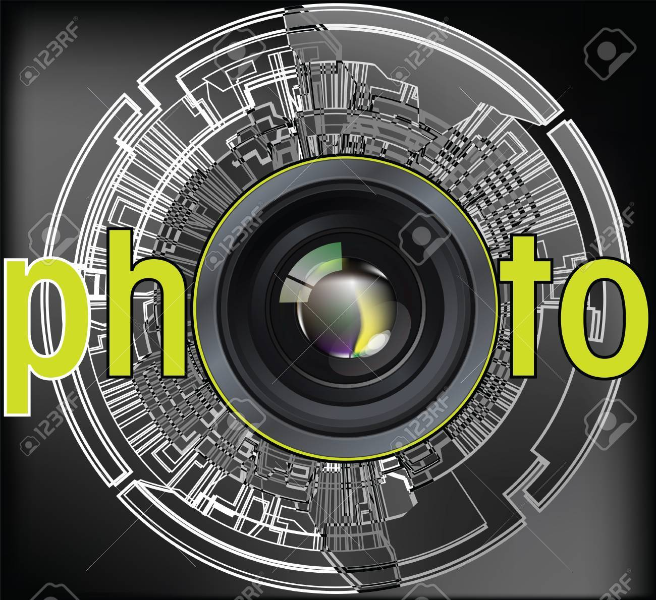 Professional photo lens. Editable vector illustration Stock Vector - 10916156