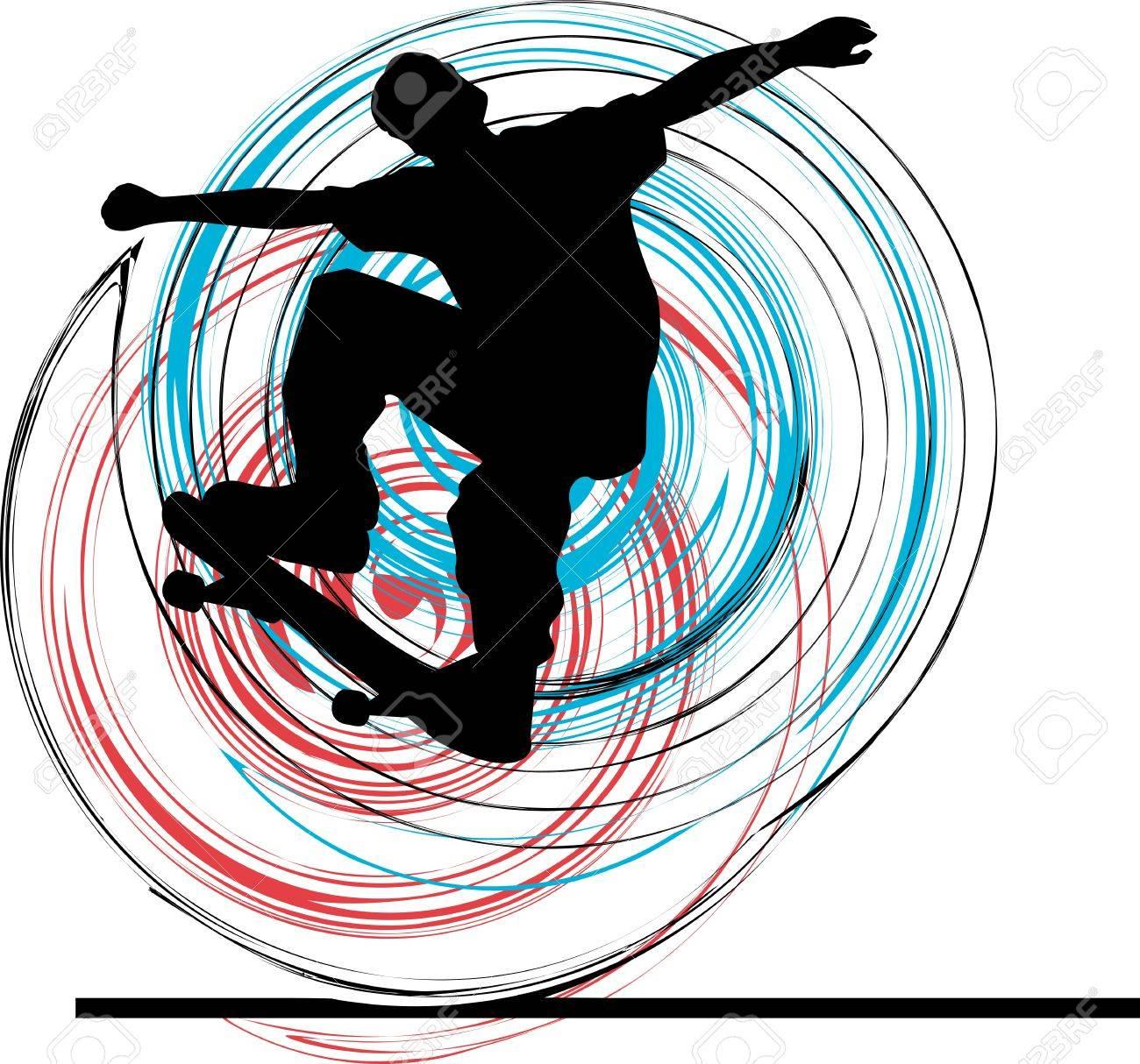 Skater illustration. Vector illustration Stock Vector - 10937036