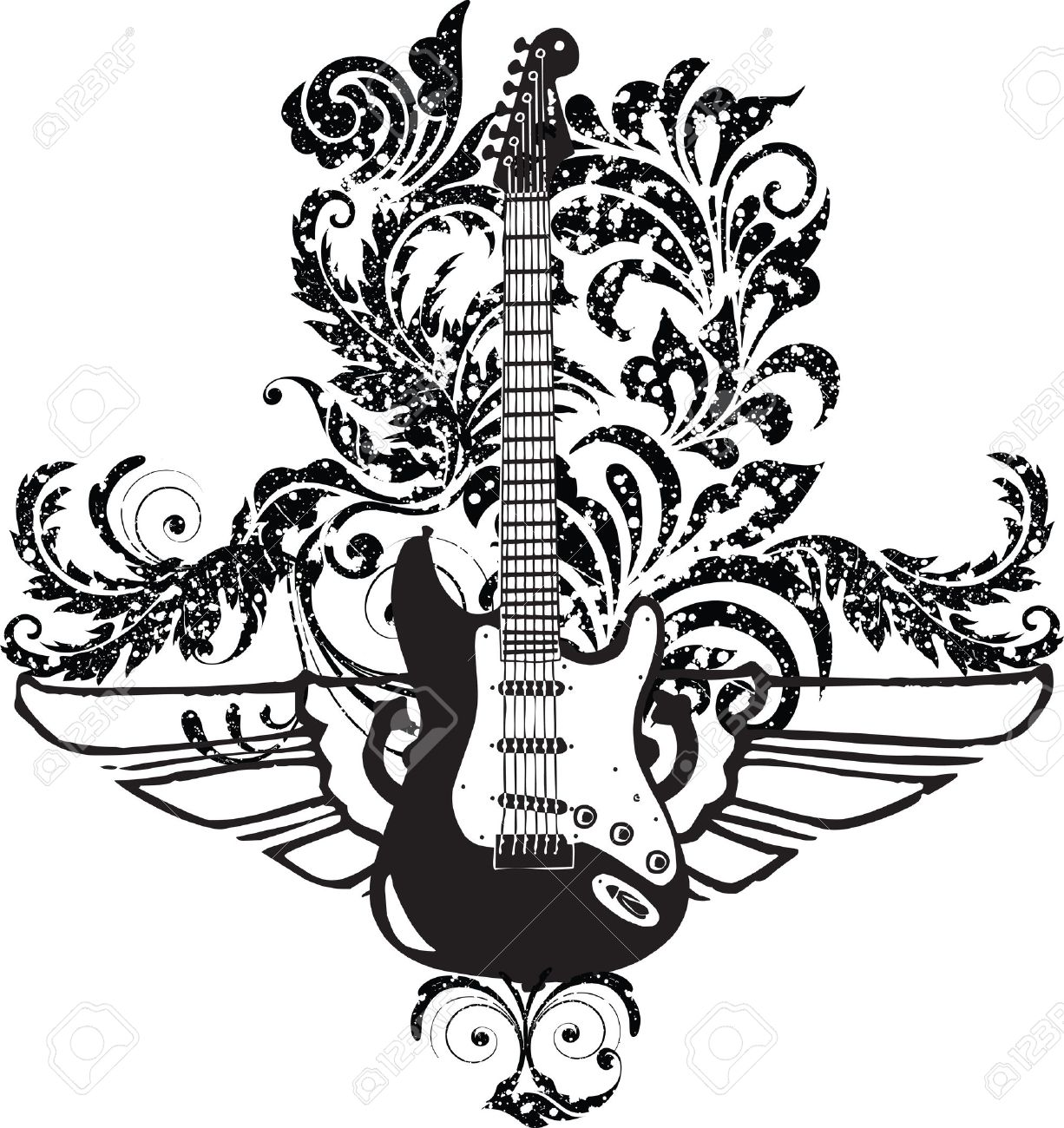 Electric Guitar Design Stock Vector