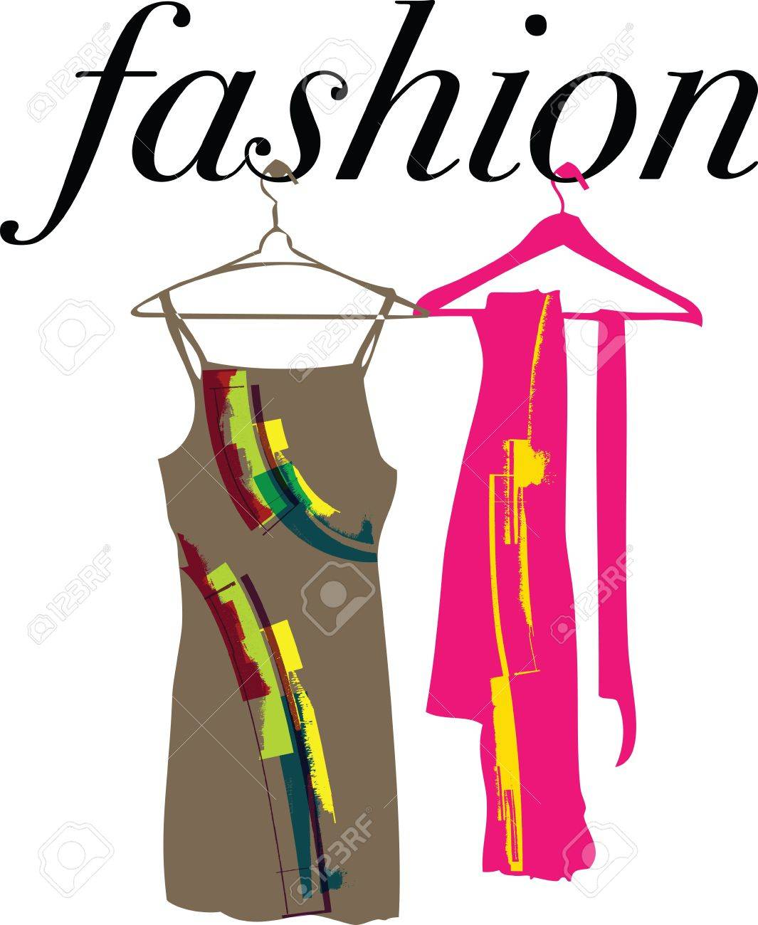 Abstract dresses & scarf illustration Stock Vector - 11000060