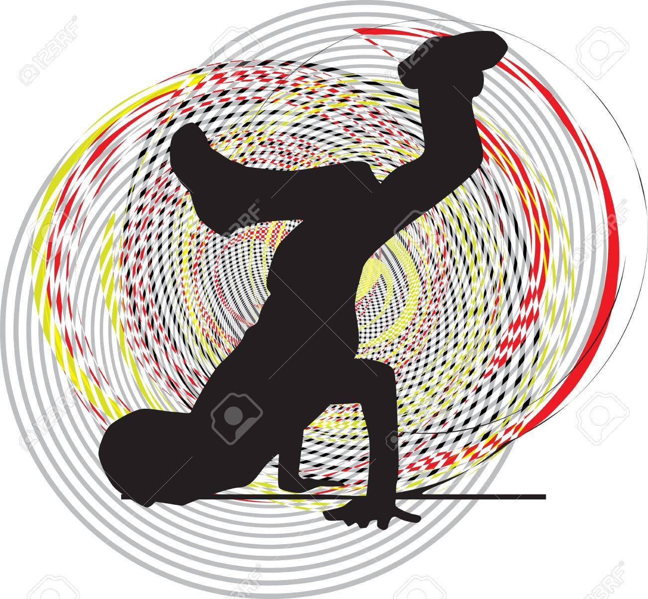Breakdancer dancing on hand stand. Vector illustration Stock Vector - 11001220