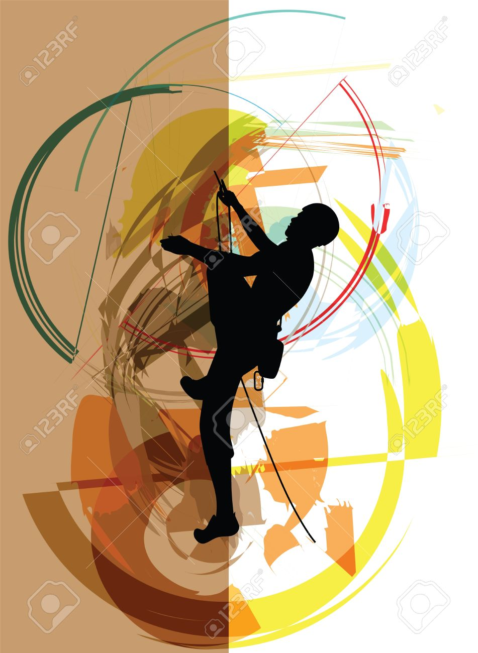 Sketch of rock climber illustration - 14840668