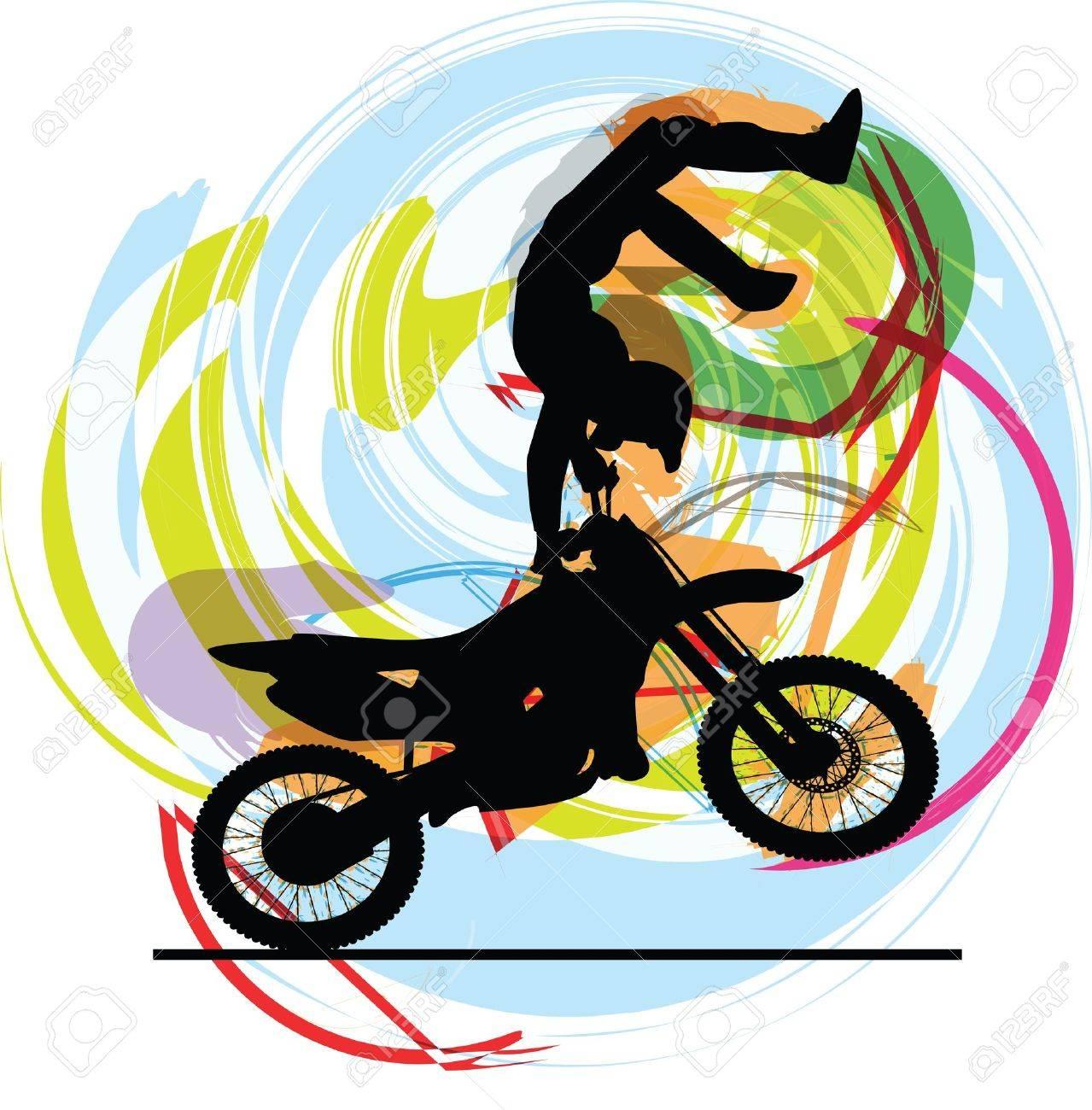 Abstract sketch of biker Illustration - 14840685