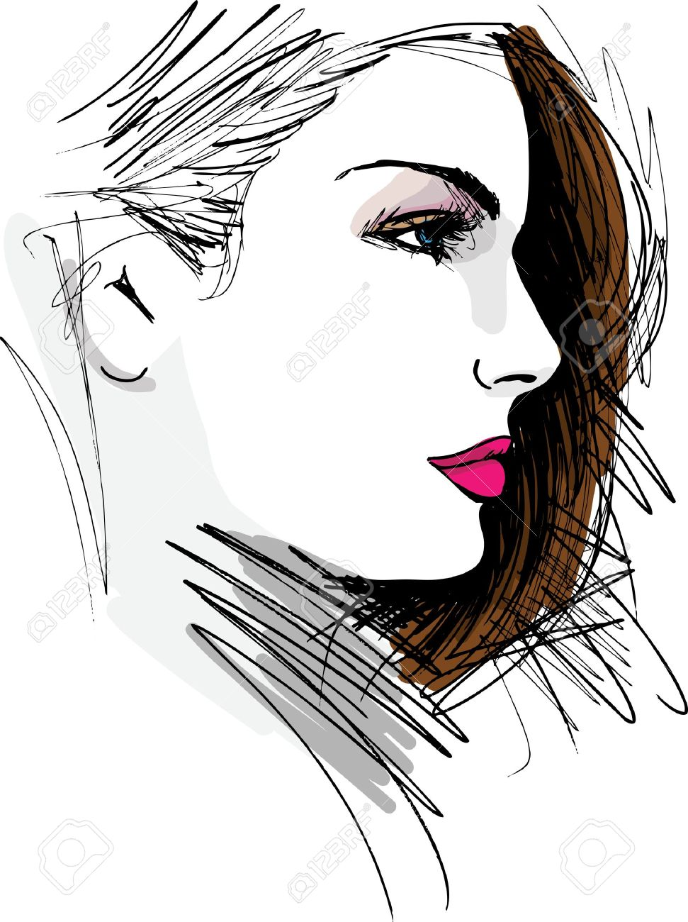 Hand drawn sketch of Beautiful Woman face illustration - 15081368