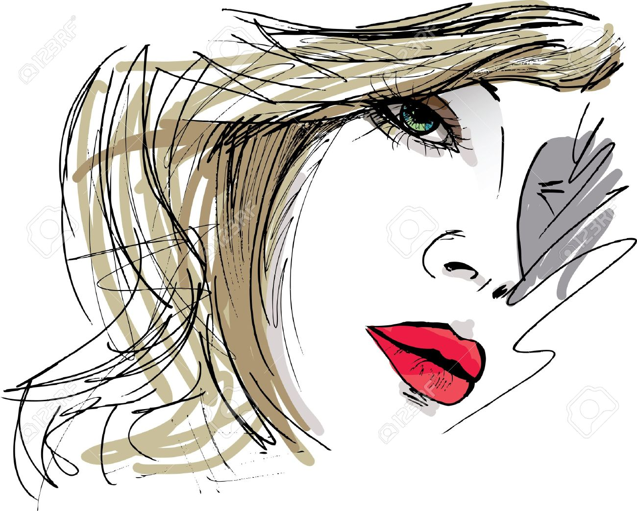 Hand drawn sketch of Beautiful Woman face illustration - 15081369