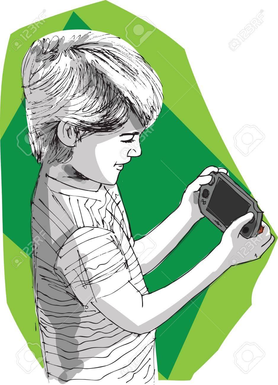 Garçon jouant la console de jeu Banque d'images - 17113153