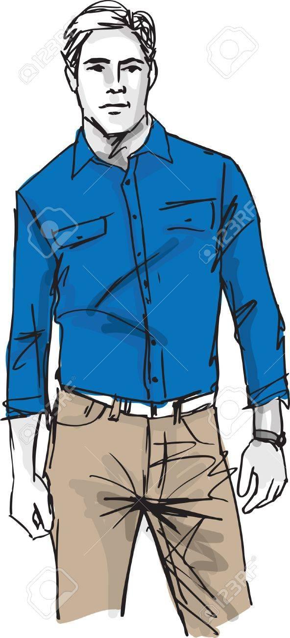 Sketch of fashion handsome man. illustration Stock Vector - 17636615