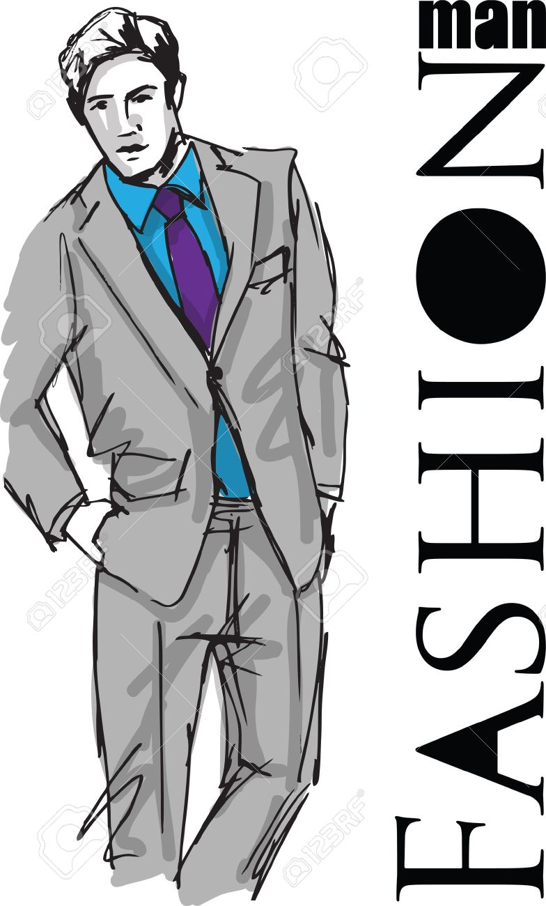 Sketch of fashion handsome man. illustration Stock Vector - 17636321