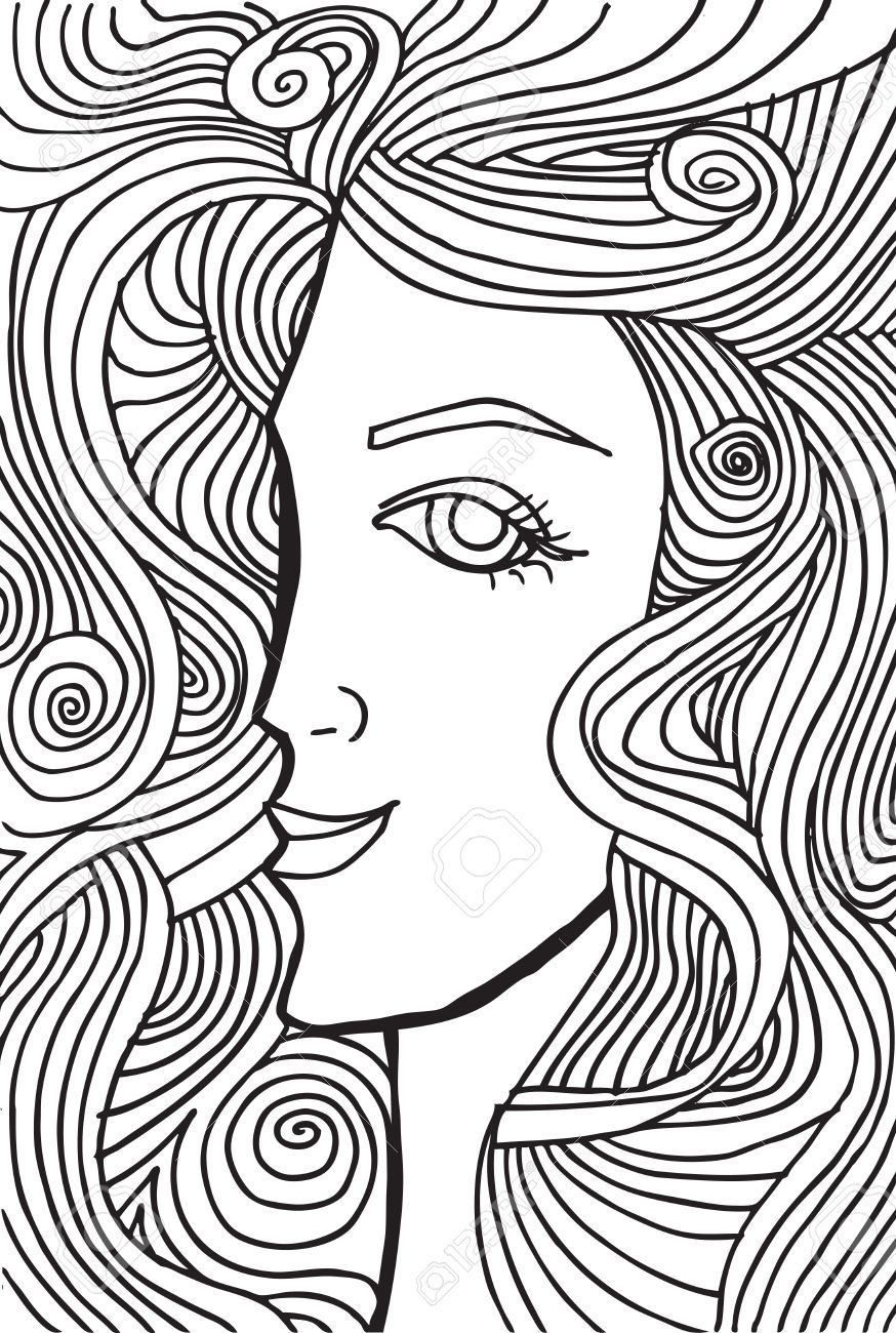 Abstract sketch of woman face illustration. - 18851181