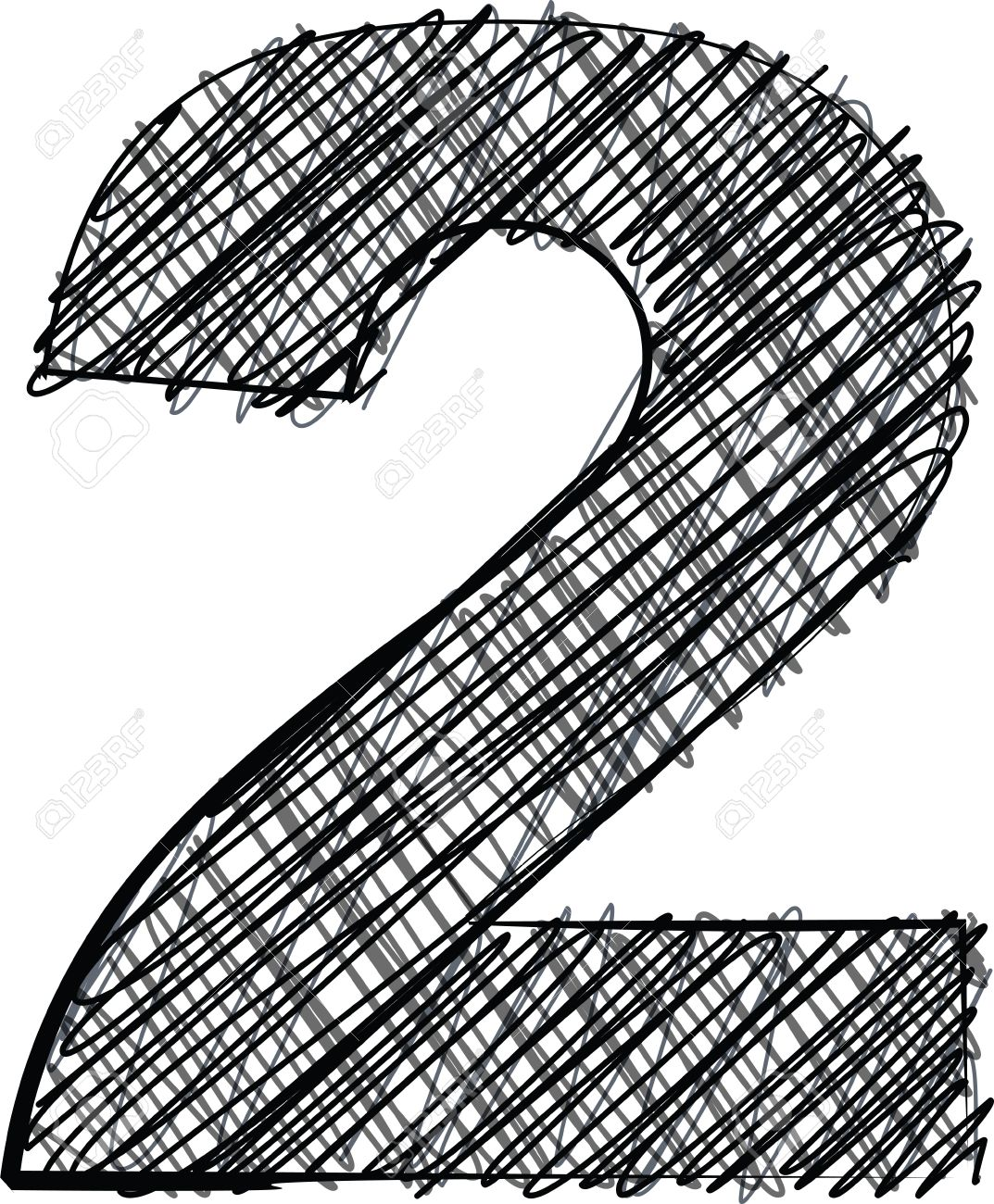 Hand Draw Font NUMBER 2 Vector Illustration Stock