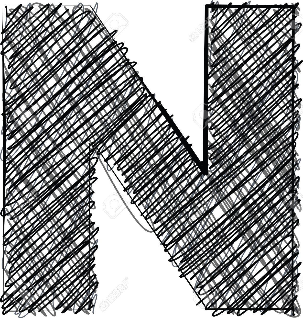Hand Draw Font LETTER N Vector Illustration Stock