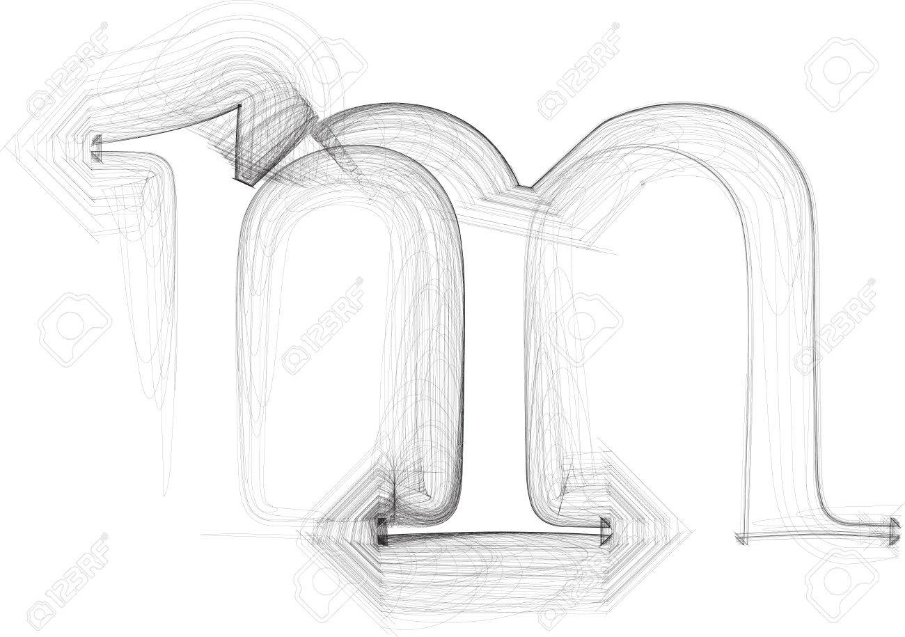 Hand Draw Font Letter M Vector Illustration Royalty Free Cliparts