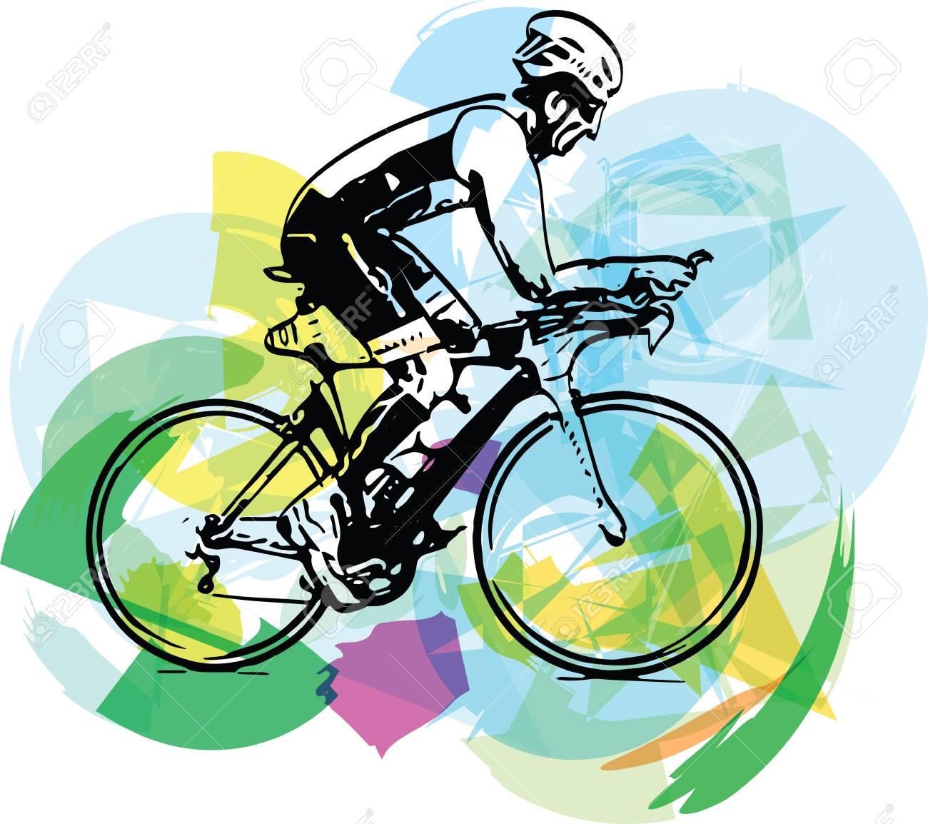 Sketch Of Male On A Bicycle With Abstract Background Royalty Free Cliparts Vectors And Stock Illustration Image 73192112