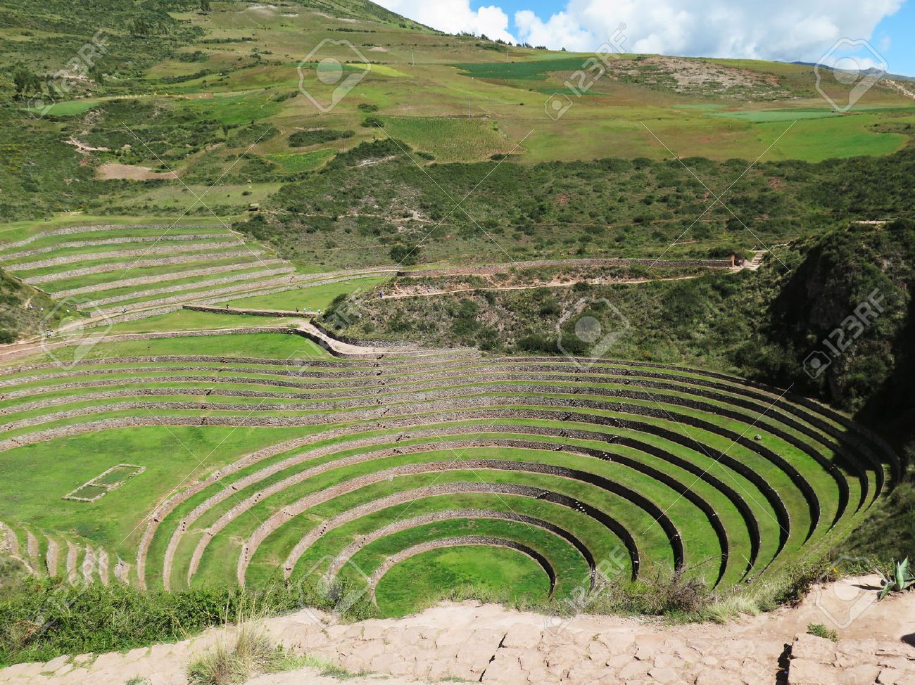 Perú Moray Antiguas Terrazas Circulares Inca Probable Es El Laboratorio De Agricultura Incas Valle Sagrado Cusco