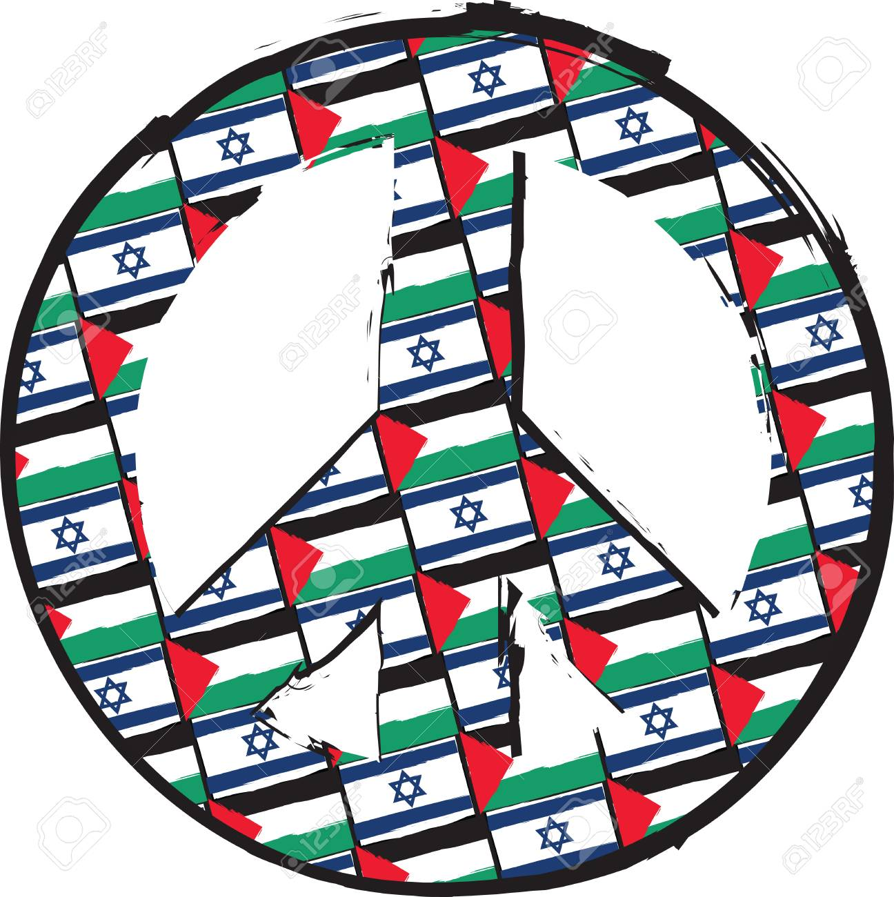 Israel And Palestine Flags Or Banner Peace Love Symbol Vector