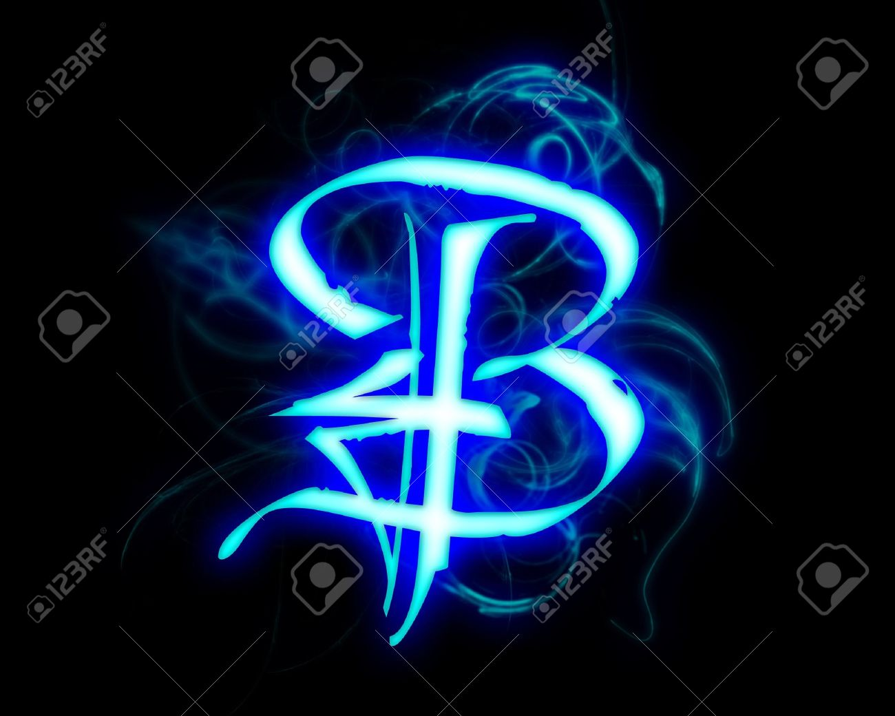 fc26378dda6 Blue flame magic font over black background. Letter B Stock Photo - 4086132