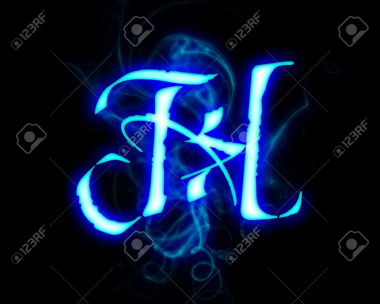 Blue Flame Magic Font Over Black Background Letter H Stock Photo
