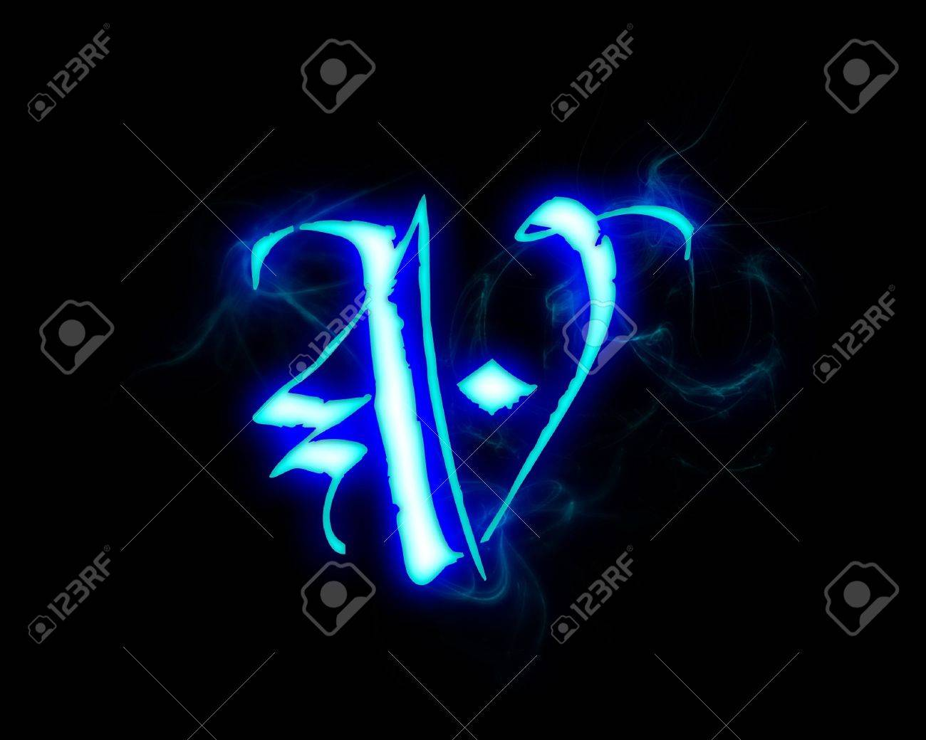 Blue Flame Magic Font Over Black Background Letter V Stock Photo
