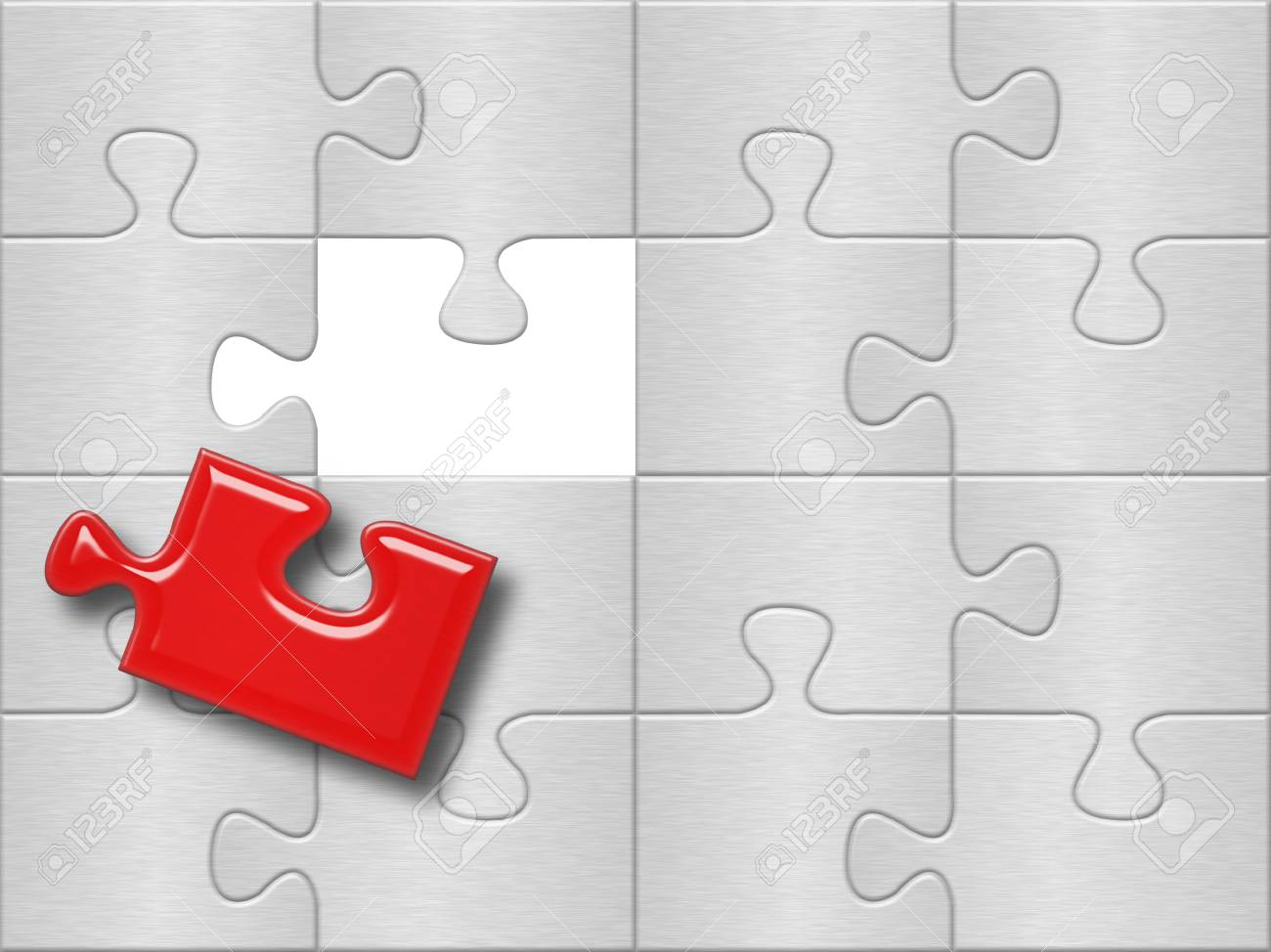 gray puzzle plane surface with one missing red piese Stock Photo - 4669125