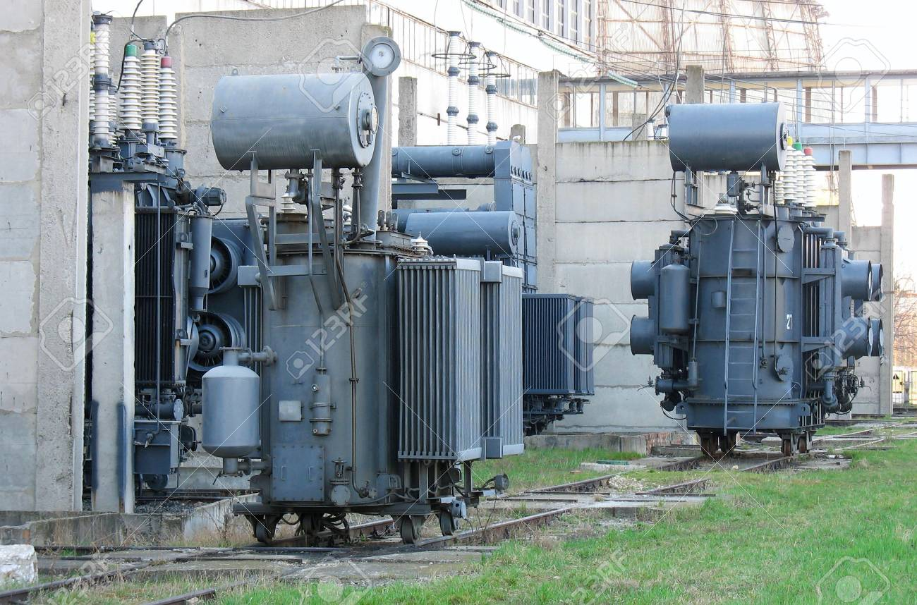 Industrial high voltage converter at a power plant