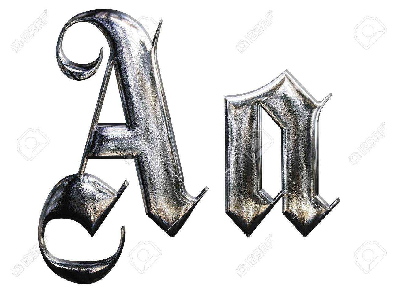 Metallic Patterned Letter Of German Gothic Alphabet Font A Stock Photo