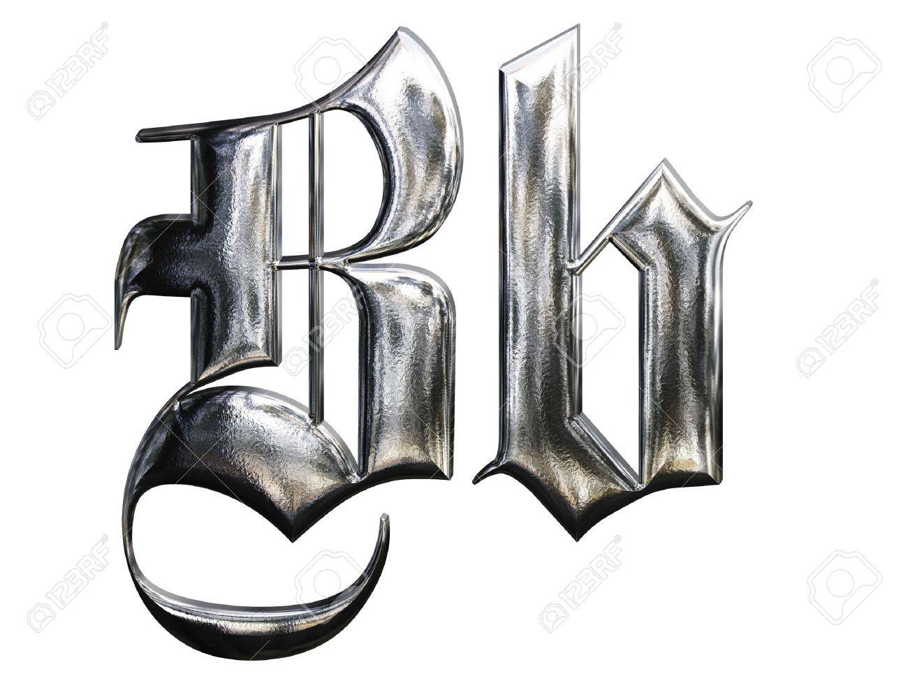 Metallic Patterned Letter Of German Gothic Alphabet Font. Letter