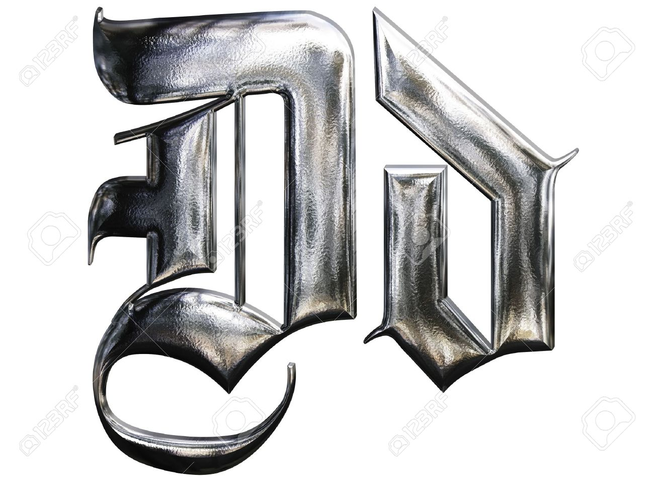 Metallic Patterned Letter Of German Gothic Alphabet Font D Stock Photo