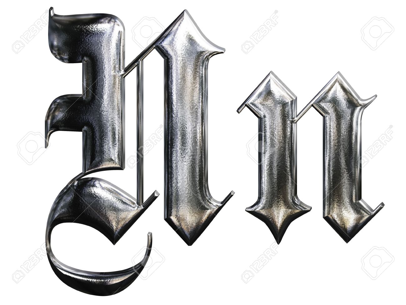 Metallic Patterned Letter Of German Gothic Alphabet Font N Stock Photo