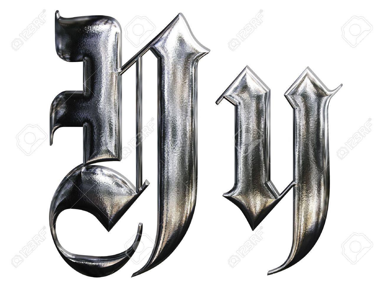 Metallic patterned letter of german gothic alphabet font. Letter Y Standard-Bild - 4701744