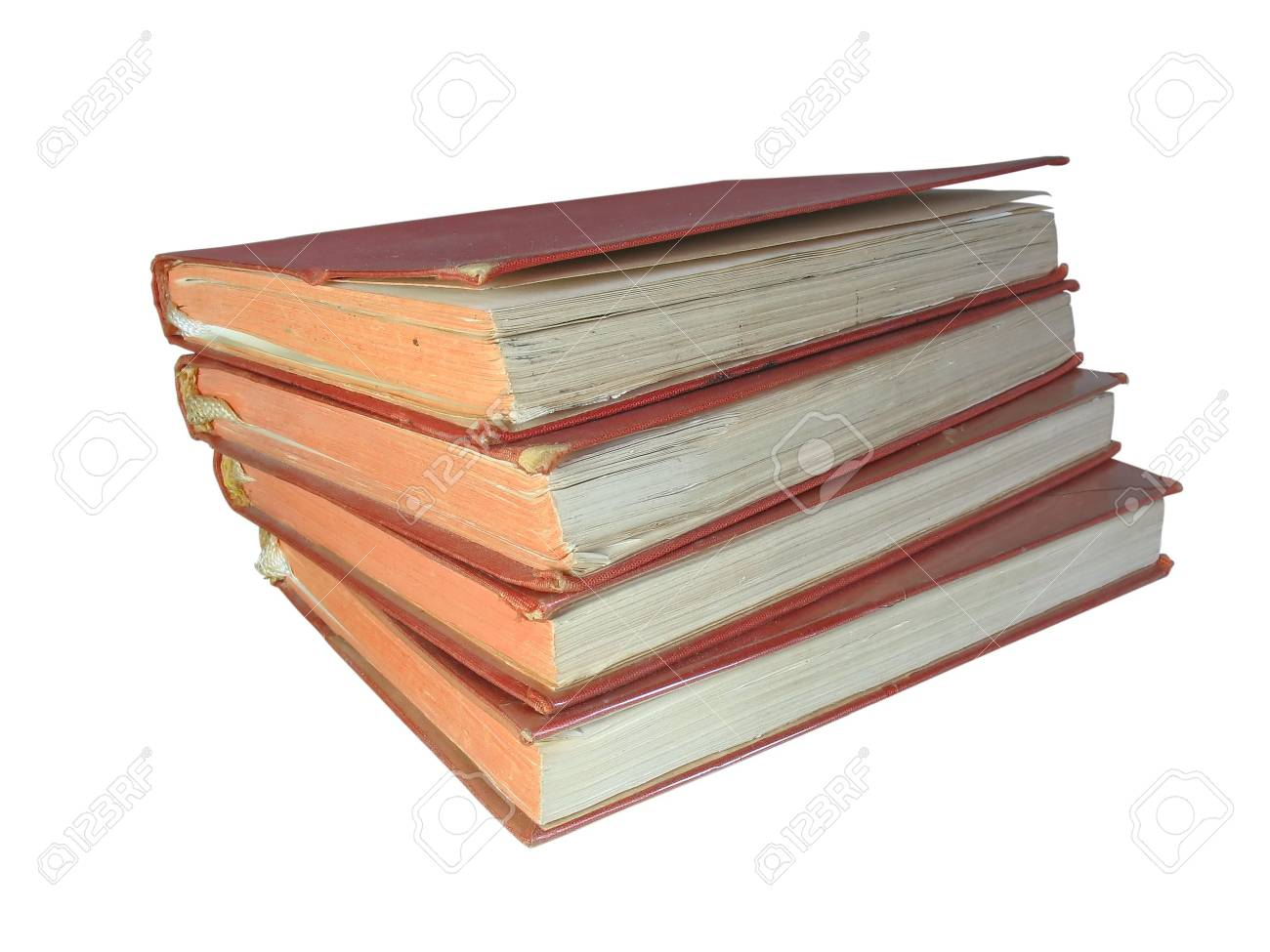 pile of old vintage books isolated on white background Stock Photo - 5231435