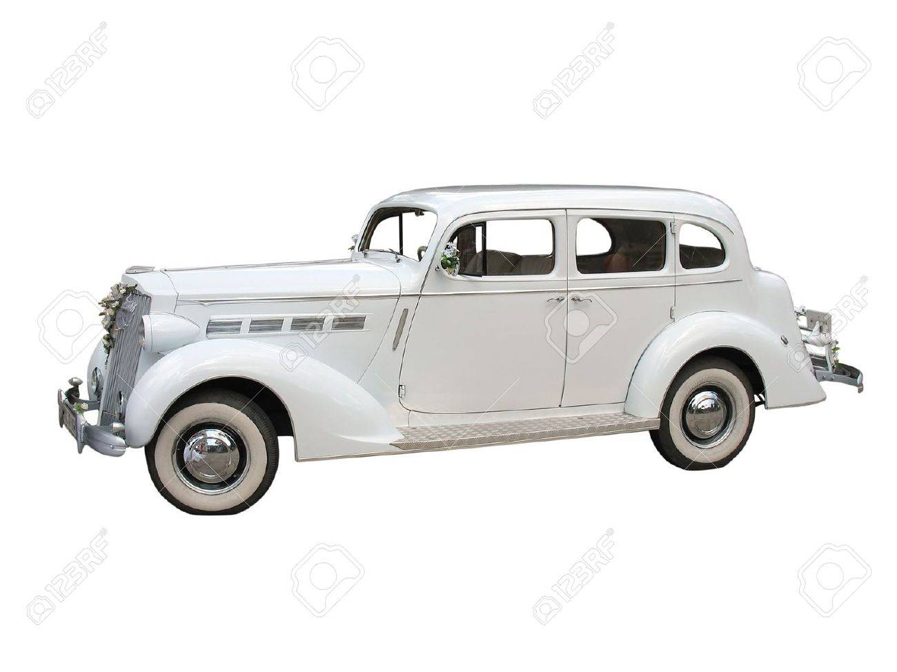 Retro Vintage White Dream Wedding Car Isolated Over White