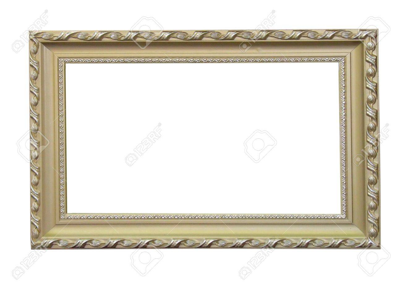 Old antique wood frame with pattern isolated over white background Stock Photo - 8289872