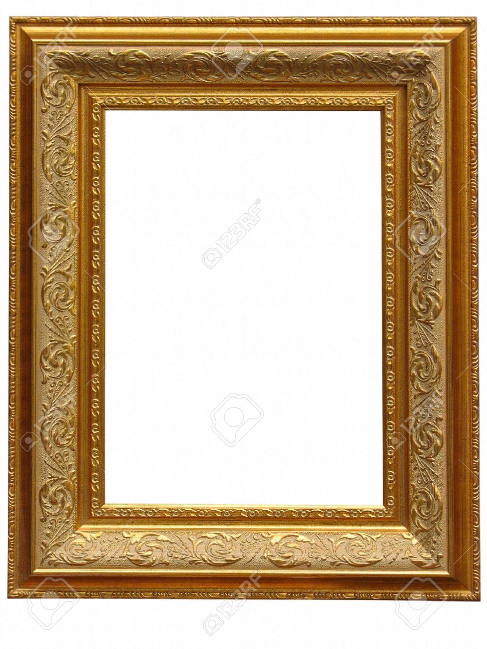 Vintage Antiken Gold-Bilderrahmen Isoliert Auf Weißem Hintergrund ...