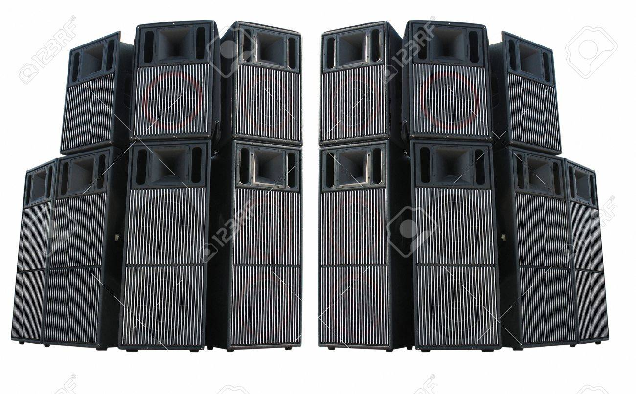 Old powerful stage concerto audio speakers isolated on white background Stock Photo - 13006259