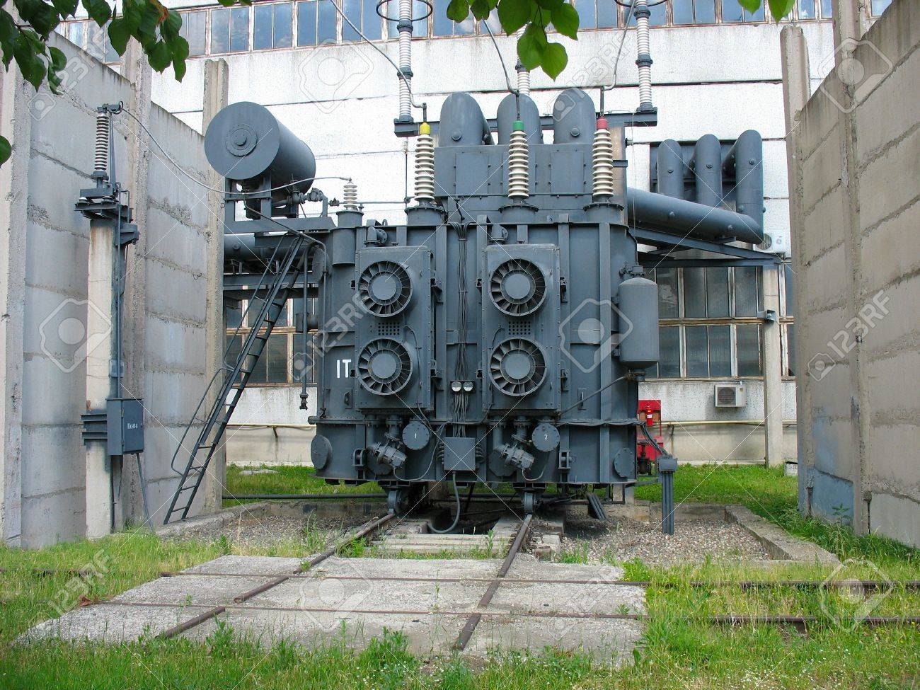 Huge industrial high-voltage substation power transformer at an power plant Stock Photo - 14267392