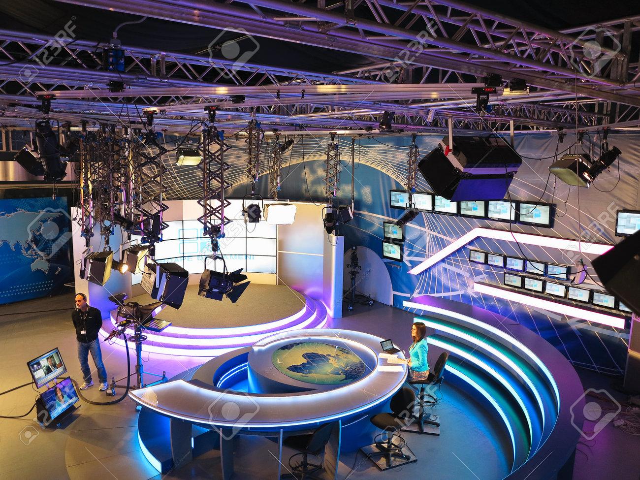 "05.04.2015, MOLDOVA, ""Publika TV"" NEWS studio with light equipment ready for recordind release. - 51840664"