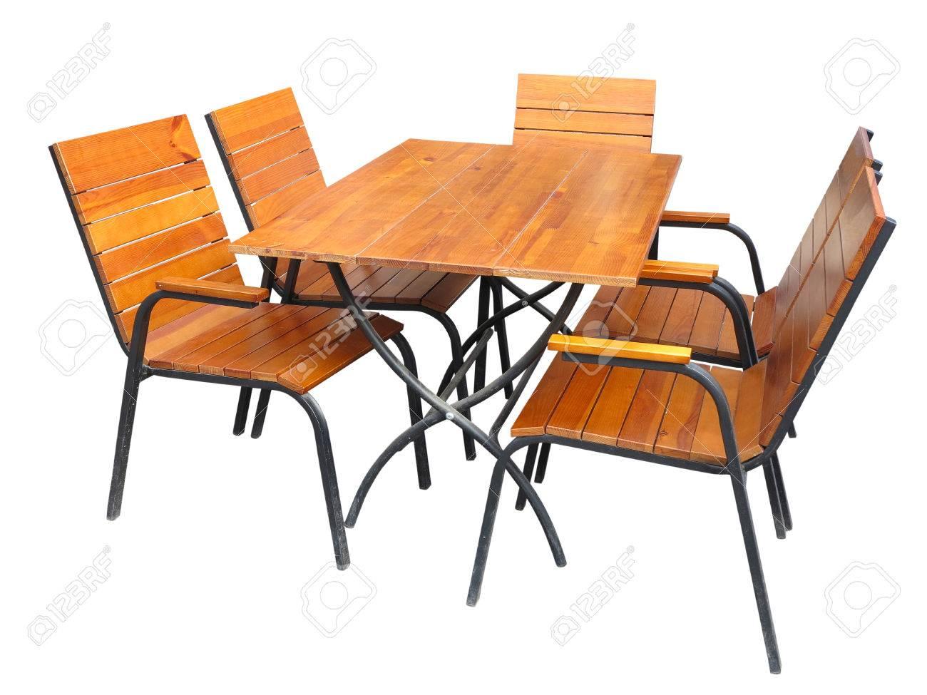 Set Von Holz Gartenmobel Tisch Und Stuhle Isoliert Auf Weissem