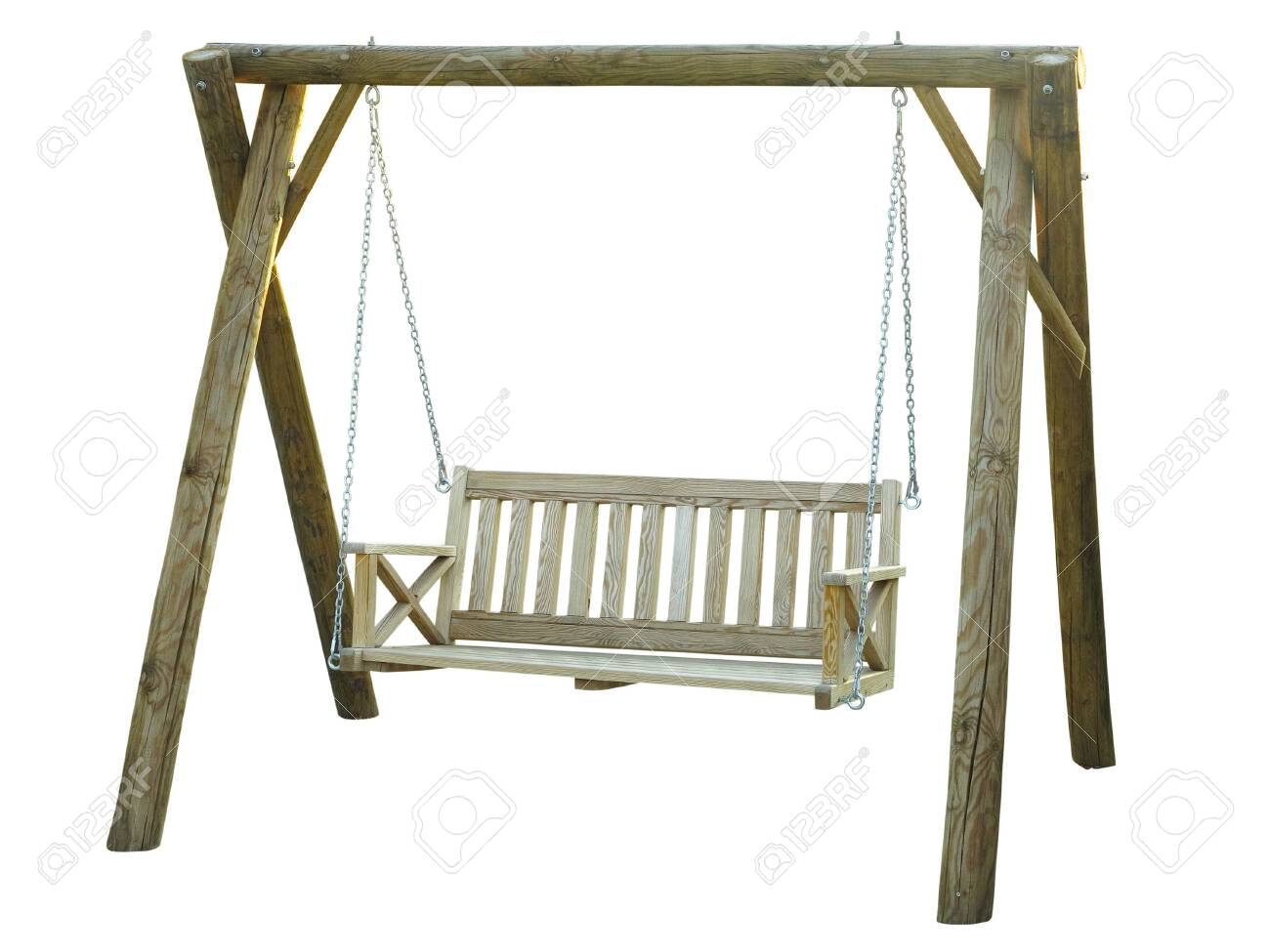 Picture of: Classic Wooden Outdoor Hanging Swing Bench Furniture Isolated Stock Photo Picture And Royalty Free Image Image 129646281