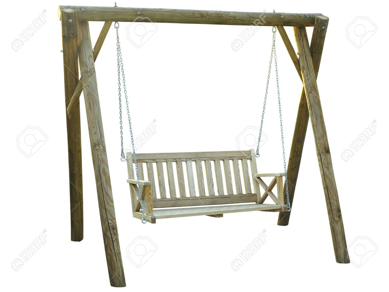 Picture of: Classic Wooden Outdoor Hanging Swing Bench Furniture Isolated Stock Photo Picture And Royalty Free Image Image 129646167