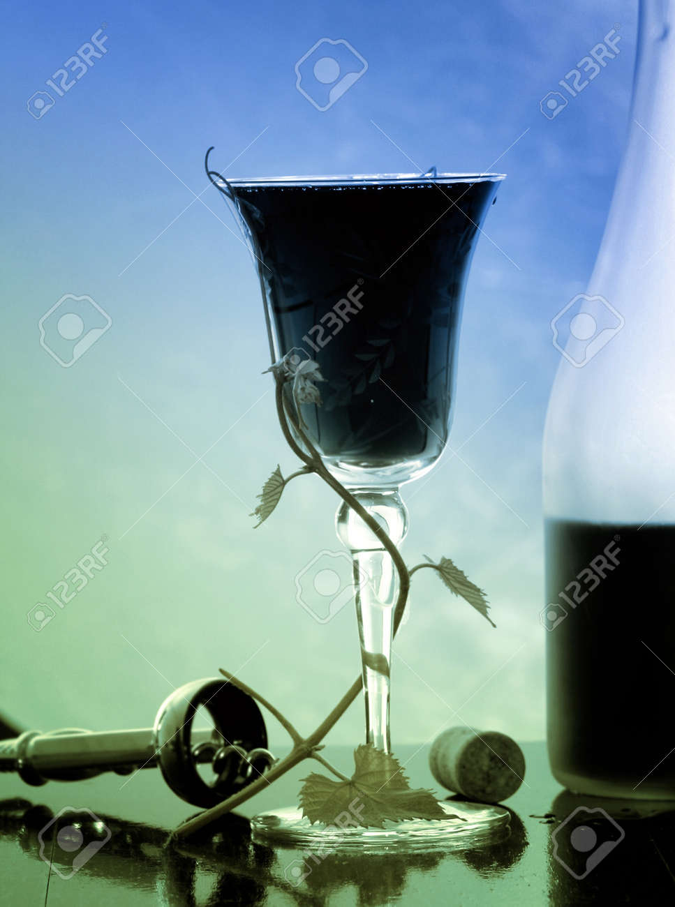 red wine glass and bottle Stock Photo - 7450805